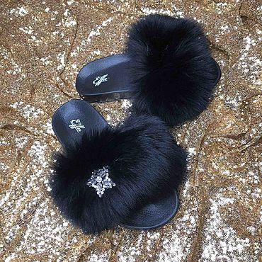 Обувь ручной работы. Ярмарка Мастеров - ручная работа Шлёпки с мехом финского аукционного песца. Handmade.