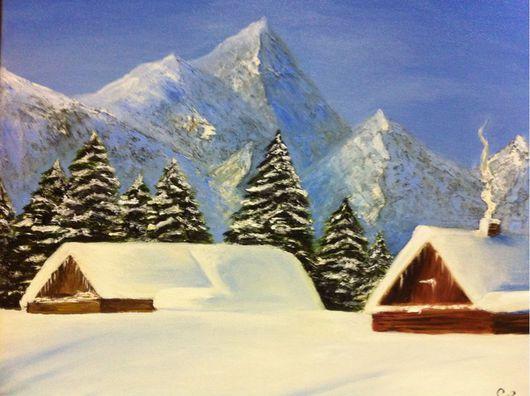 Пейзаж ручной работы. Ярмарка Мастеров - ручная работа. Купить Картина маслом, зимний пейзаж. Зима в горах.. Handmade. Зима