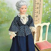 Куклы и игрушки ручной работы. Ярмарка Мастеров - ручная работа Кукла миниатюрная  подвижная Пожилая дама. Handmade.