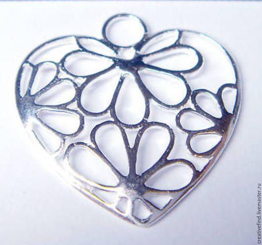 Для украшений ручной работы. Ярмарка Мастеров - ручная работа. Купить Подвеска сердце,серебро 925. Handmade. Серебряный