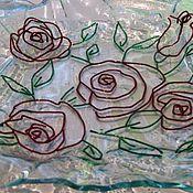 """Посуда ручной работы. Ярмарка Мастеров - ручная работа Фьюзинг.Тарелка """"Красные розы"""". Handmade."""