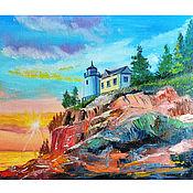 Картины и панно handmade. Livemaster - original item Lighthouse. Mountains. Sea.. Handmade.