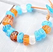 Украшения ручной работы. Ярмарка Мастеров - ручная работа Голубой янтарь - браслет лэмпворк на кожаном шнуре. Handmade.