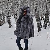 handmade. Livemaster - original item Poncho fur black brown (silver) Fox hooded.. Handmade.
