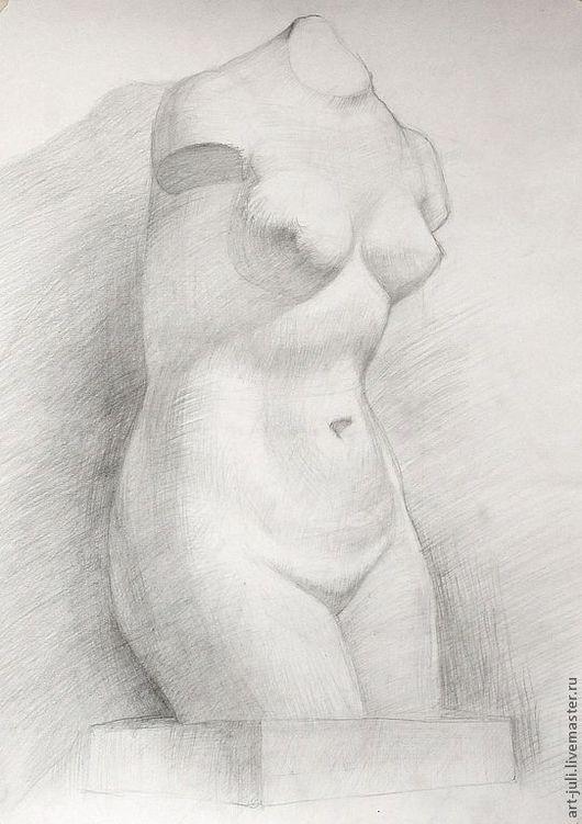 """Ню ручной работы. Ярмарка Мастеров - ручная работа. Купить рисунок """"Венера"""". Handmade. Белый, серый, рисунок гипса"""