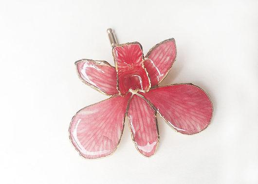 Броши ручной работы. Ярмарка Мастеров - ручная работа. Купить Брошь-булавка 'Розовая орхидея'. Handmade. Розовый, булавка, орхидея
