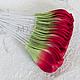 Лепестки зелено-красные загнутые My Thai материалы для малберри флористики из Таиланда