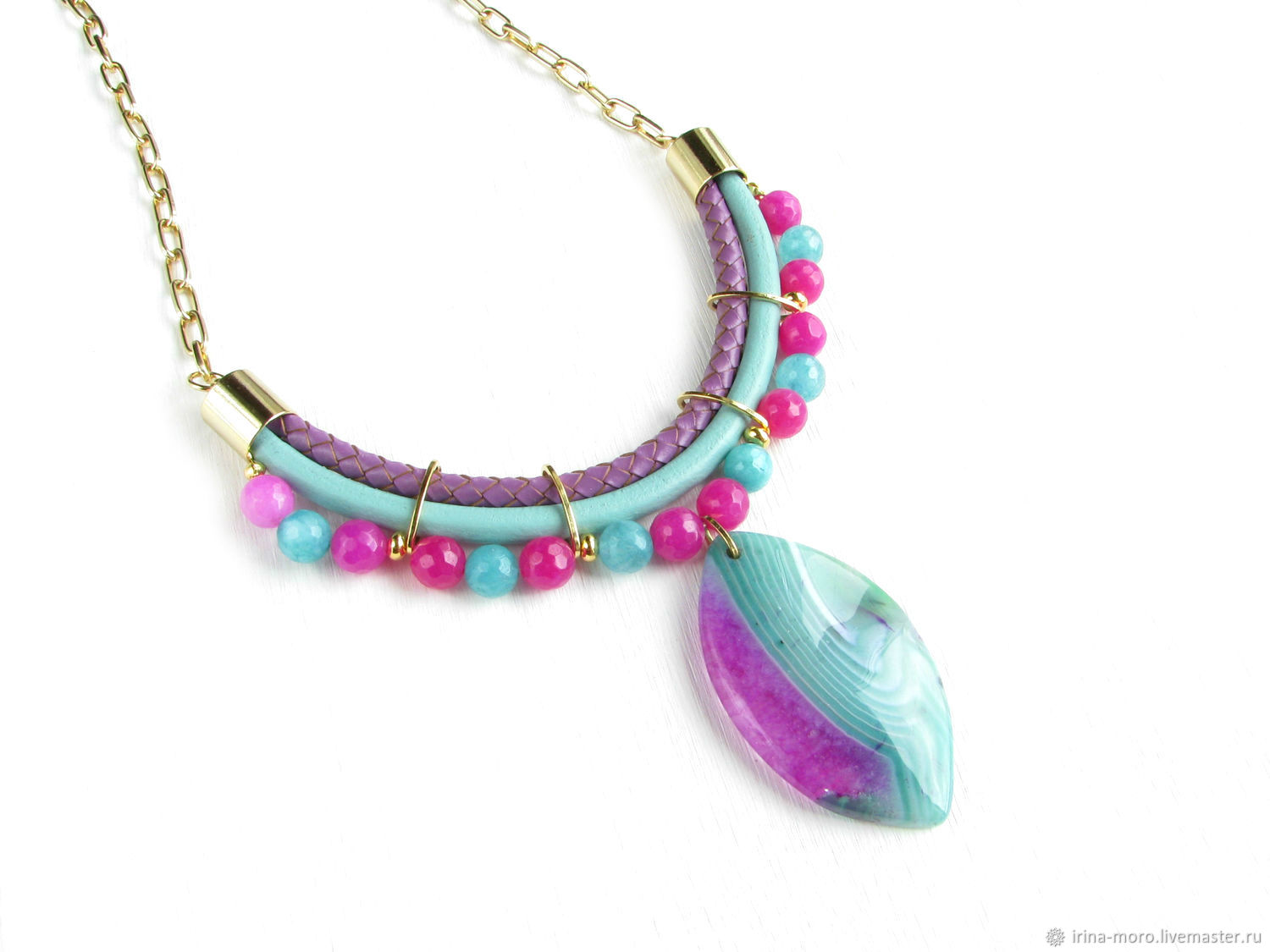 Bright agate necklace 'Mint lilac' mint necklace, lilac, Necklace, Moscow,  Фото №1