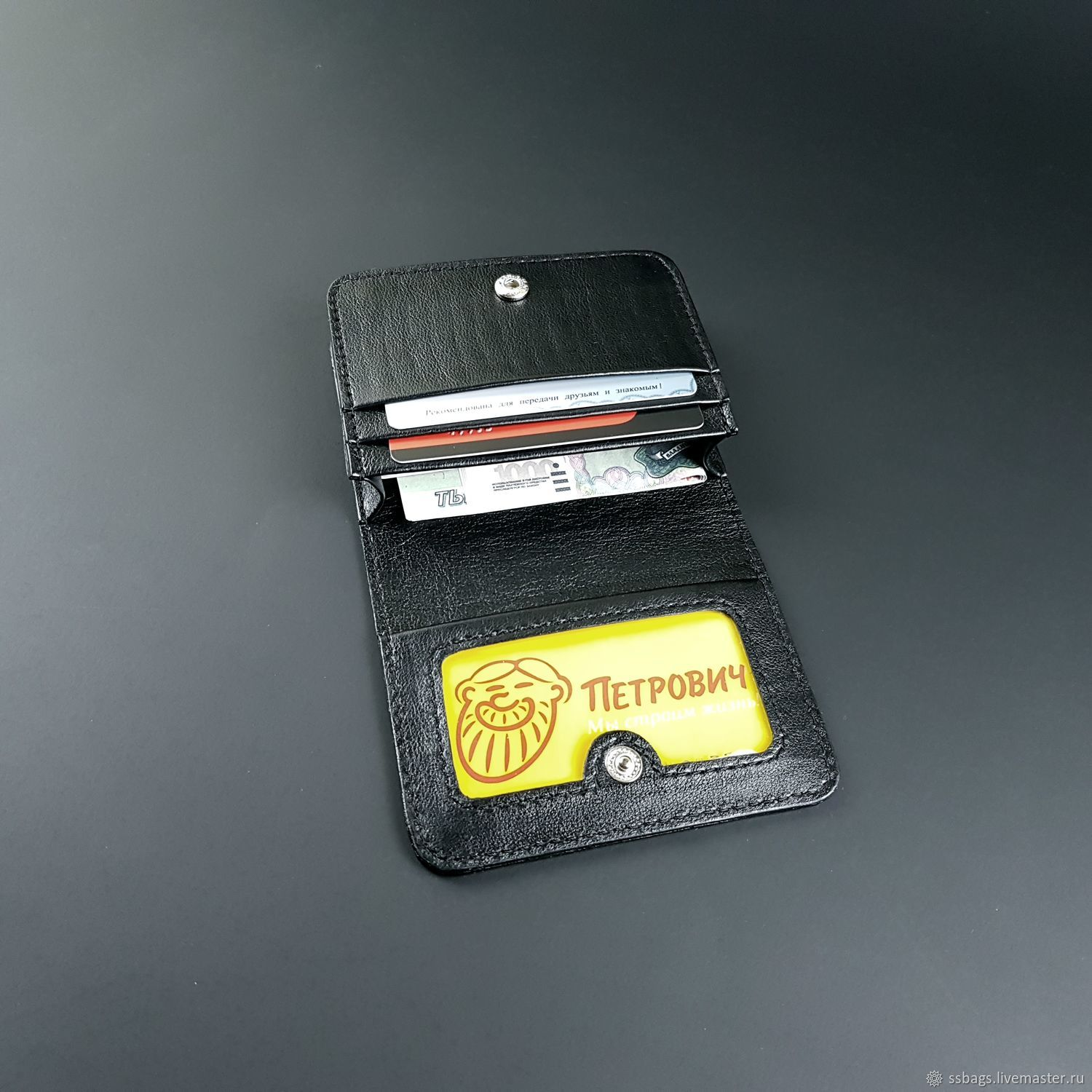 Cardholders, Business Card, Credit Card. Premium black genuine leather, Business card holders, St. Petersburg,  Фото №1
