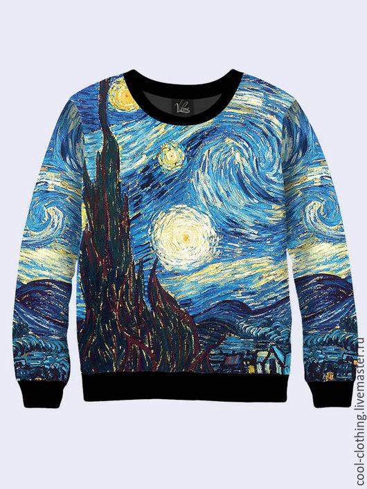 """Кофты и свитера ручной работы. Ярмарка Мастеров - ручная работа. Купить Женская кофта """"Звездная ночь"""" Ван Гог. Handmade."""