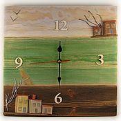 """Часы классические ручной работы. Ярмарка Мастеров - ручная работа Часы настенные деревянные """"Эти странные соседи ветреным утром. Handmade."""