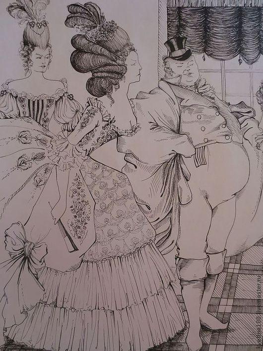 """Репродукции ручной работы. Ярмарка Мастеров - ручная работа. Купить Картина """"Ревизор"""". Handmade. Чёрно-белый, картина, барышня"""