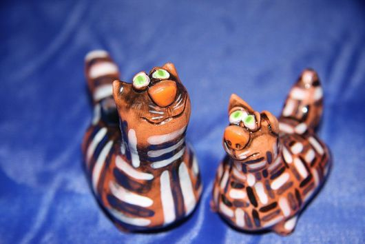Куклы и игрушки ручной работы. Ярмарка Мастеров - ручная работа. Купить ЗамечТательные коты. Handmade. Керамика, в полоску, красная глина