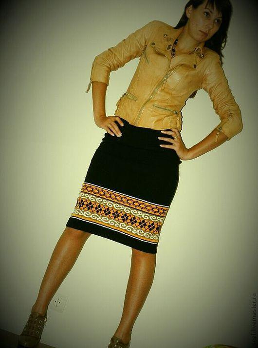 """Юбки ручной работы. Ярмарка Мастеров - ручная работа. Купить вязаная юбка """"Не совсем офисная"""". Handmade. Черный"""
