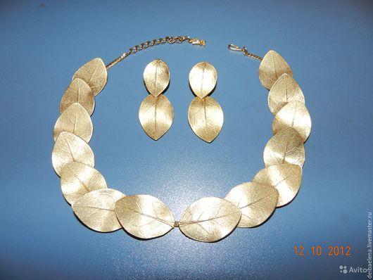 Винтажные украшения. Ярмарка Мастеров - ручная работа. Купить Mosell Ожерелье колье клипсы винтаж. Handmade. Желтый, редкий винтаж