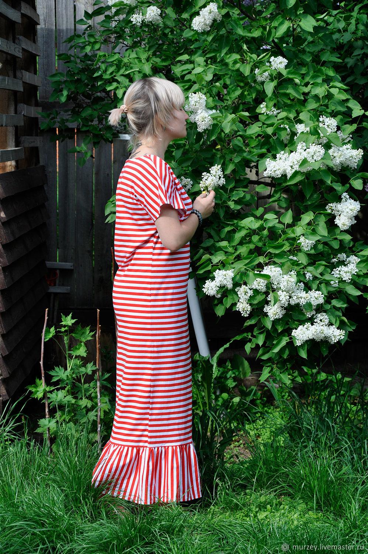 Платья ручной работы. Ярмарка Мастеров - ручная работа. Купить Хлопковое платье-футболка с оборкой. Handmade. Платье, хлопок 100%