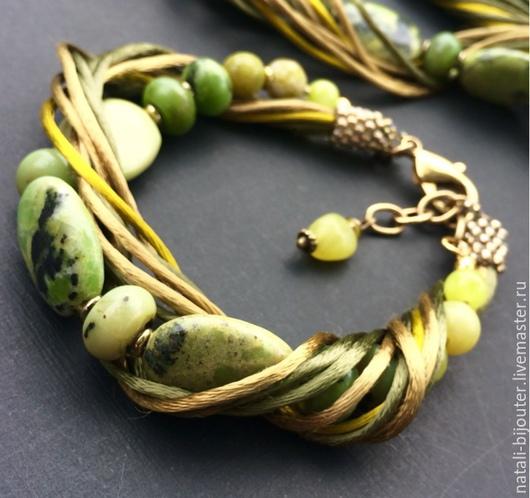 """Браслеты ручной работы. Ярмарка Мастеров - ручная работа. Купить Шелковый браслет  """"Желтая бирюза"""". Handmade. Оливковый, зеленый цвет"""