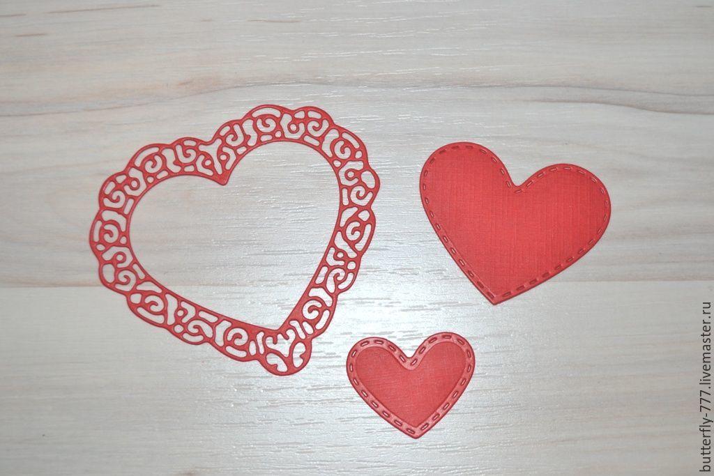 ручной работы. Ярмарка Мастеров - ручная работа. Купить вырубка 3 сердца. Handmade. Скрапбукинг, Декор, комбинированный, картон