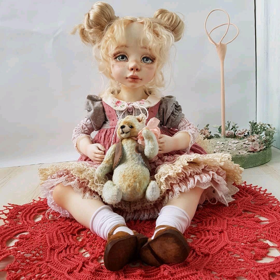 Коллекционная кукла. Выполнена в смешанной технике, Шарнирная кукла, Пересвет,  Фото №1
