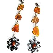 Украшения handmade. Livemaster - original item Long amber earrings, natural stones for women. Handmade.