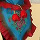 """Комплекты аксессуаров ручной работы. Валяный бактус """"Красные Тюльпаны 2""""  сине- бирюзовый красный. Livefelt. Интернет-магазин Ярмарка Мастеров."""