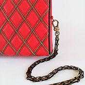 handmade. Livemaster - original item Helga clutch bag, red evening bag, scarlet clutch. Handmade.