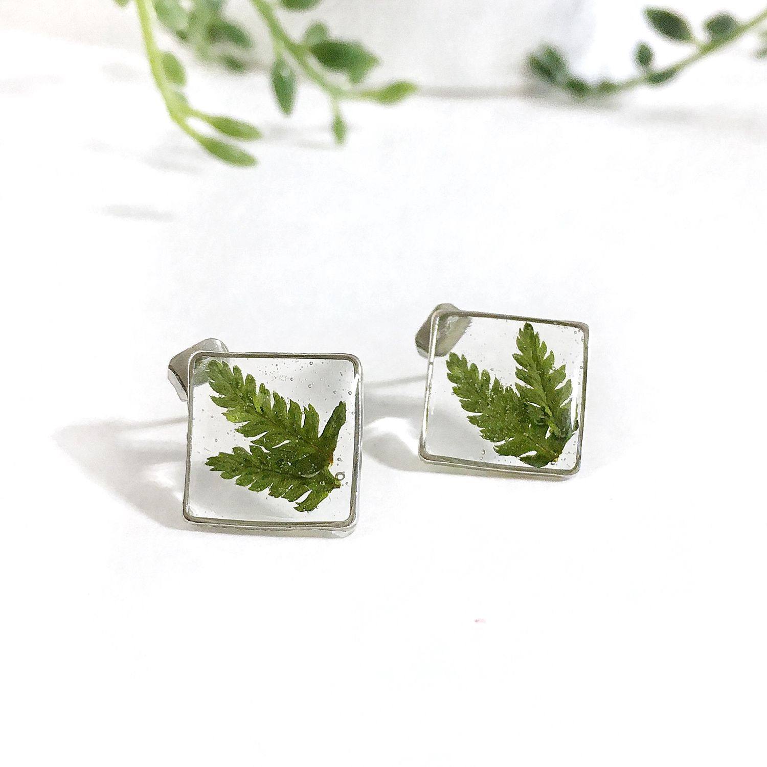Stud earrings with fern leaves in resin earrings ear studs set diamonds, Stud earrings, St. Petersburg,  Фото №1