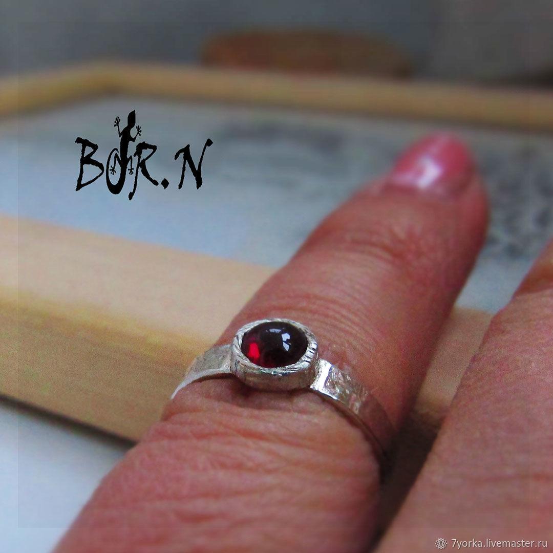 Silver ring with garnet, Hard bracelet, St. Petersburg,  Фото №1