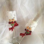 Свадебный салон ручной работы. Ярмарка Мастеров - ручная работа Свадебные бокальчики - набор (образец). Handmade.