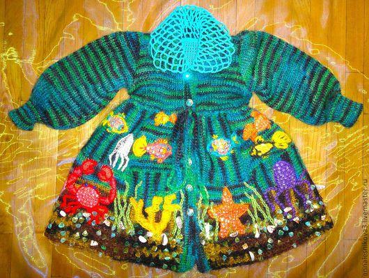 """Одежда для девочек, ручной работы. Ярмарка Мастеров - ручная работа. Купить Детское пальто """"Морской коктейль"""" (спецзаказ). Handmade. Для детей"""