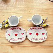 """Свадебный салон ручной работы. Ярмарка Мастеров - ручная работа Кофейная пара """"Доброе утро!"""". Handmade."""