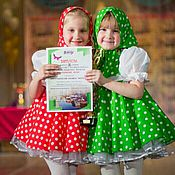 """Работы для детей, ручной работы. Ярмарка Мастеров - ручная работа Платья для девочек """"Матрешки"""", нарядные платья в горошек. Handmade."""