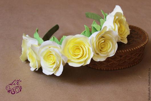Диадемы, обручи ручной работы. Ярмарка Мастеров - ручная работа. Купить Ободок из желтых роз. Handmade. Желтый, ободок для волос