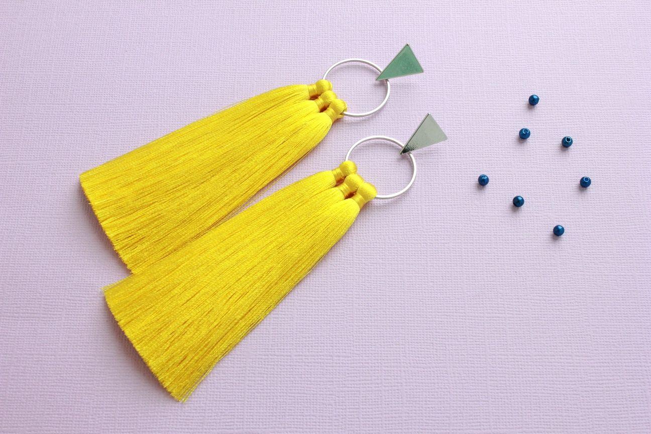Yellow tassel earrings, Tassel earrings, Ufa,  Фото №1