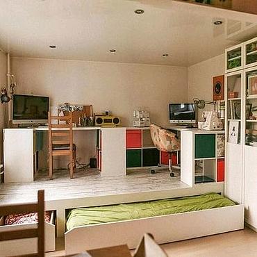 Для дома и интерьера ручной работы. Ярмарка Мастеров - ручная работа Кровать подиум под рабочим местом. Handmade.