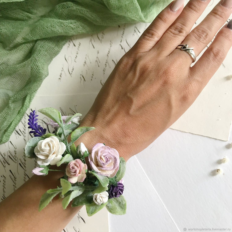 Цветочный браслет для подружек невесты с сиреневыми цветами, Б-75, Браслеты, Санкт-Петербург,  Фото №1