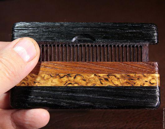 Расческа в футляре из мореного дуба 4000 лет, мореного дуба 40 лет, мореной карельской березы, клена перламутрового, палисандра восточноиндийского (сонокелинг)