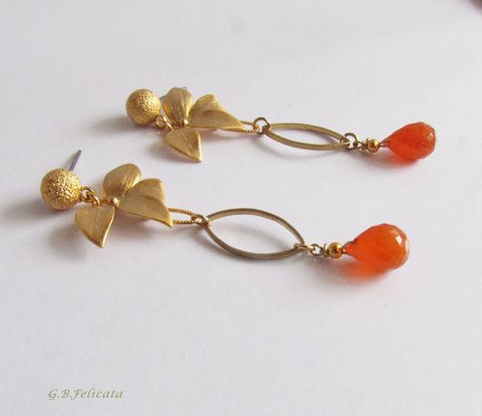 """Серьги ручной работы. Ярмарка Мастеров - ручная работа. Купить Серьги""""Рыжая орхидея"""" Сердолик. Handmade. Рыжий, оранжевый, felicata"""