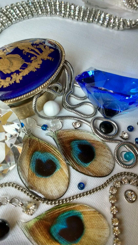 Earrings transparent Peacock Paisley India, Earrings, Zheleznovodsk,  Фото №1