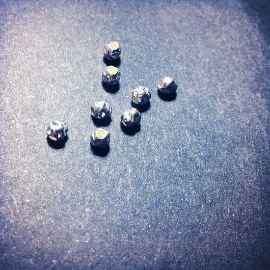 """Для украшений ручной работы. Ярмарка Мастеров - ручная работа. Купить Бусина круглая """"битая"""" 3мм, серебро 925 проба. Handmade."""
