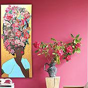 Картины и панно handmade. Livemaster - original item African Frida Kahlo Painting on canvas, embroidery art 47*20. Handmade.