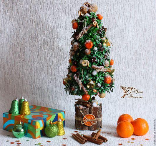 Топиарии ручной работы. Ярмарка Мастеров - ручная работа. Купить Новогоднее Настроение. Handmade. Зеленый, новогодний декор, ёлка с мандаринами