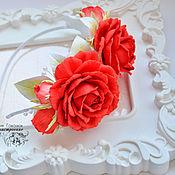 """Украшения ручной работы. Ярмарка Мастеров - ручная работа Ободок с розами """"Томатные розы"""". Handmade."""