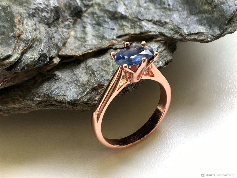 Кольцо с натуральным синим Сапфиром 1,71ct – купить онлайн на Ярмарке Мастеров – MGU4IRU | Кольцо помолвочное, Москва