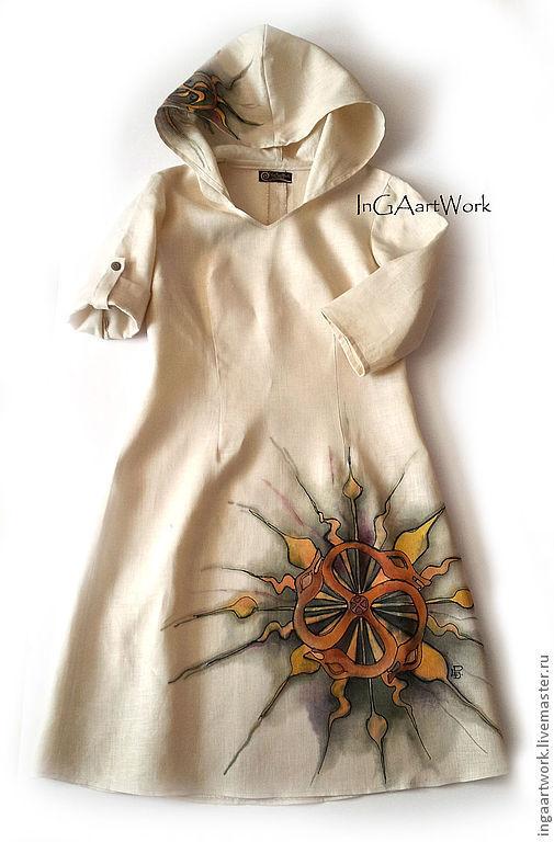 Платья ручной работы. Ярмарка Мастеров - ручная работа. Купить Спец. заказ. Handmade. Льняное платье, лето 2013, бежевый