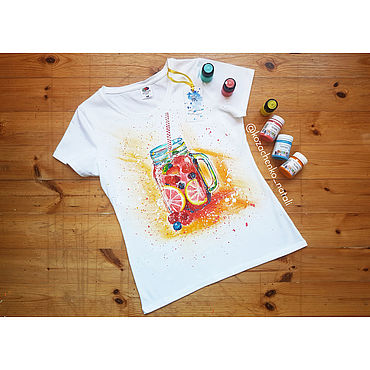 Clothing handmade. Livemaster - original item T-shirt with hand-painted Lemonade!. Handmade.