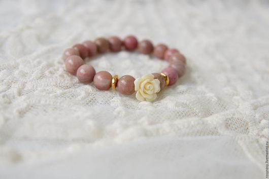 Браслеты ручной работы. Ярмарка Мастеров - ручная работа. Купить Браслет из натуральных камней Розовый браслет из камней Soft Touch. Handmade.