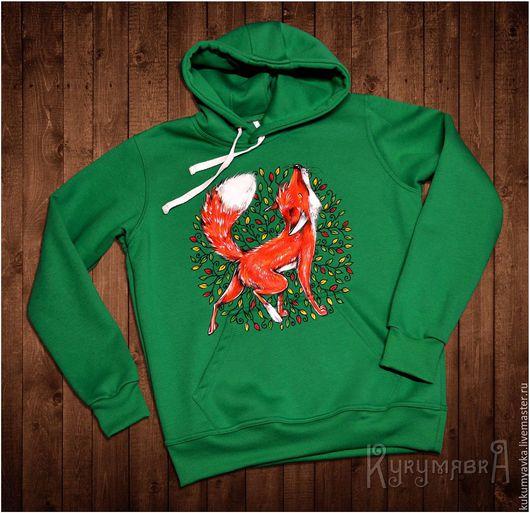 """Кофты и свитера ручной работы. Ярмарка Мастеров - ручная работа. Купить Толстовка с ручной росписью """"Лисица"""" в листьях. Handmade. Зеленый"""
