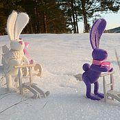 Куклы и игрушки ручной работы. Ярмарка Мастеров - ручная работа Игрушка валяная Зайка-лыжник. Handmade.