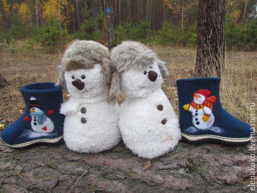 Обувь ручной работы. Ярмарка Мастеров - ручная работа. Купить Валеночки Снеговички. Handmade. Тёмно-синий, подарок на новый год